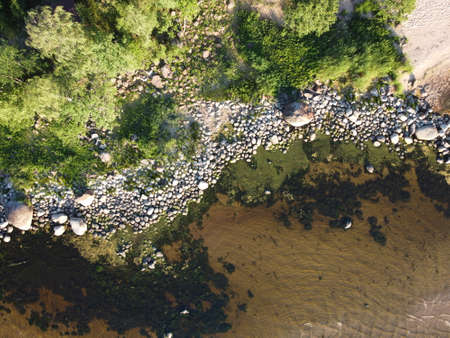 wild coast of the gulf of finland on a summer sunny day aerial photo