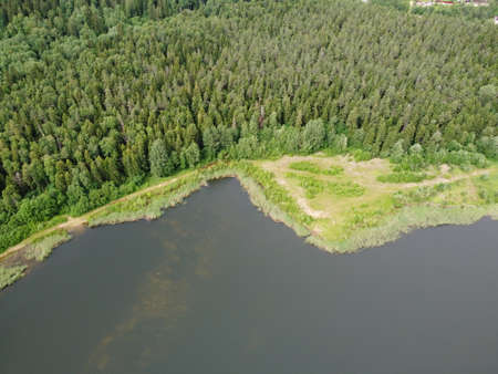 woodland on the shore of a reservoir on a summer day aerial photo 版權商用圖片