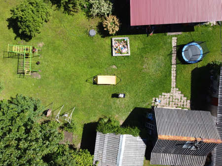 small village aerial photography on a summer sunny day
