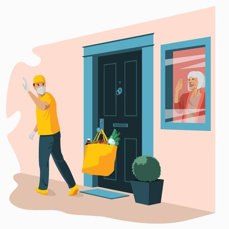 Groceries in bag left at front door. Safe contactless delivery to home to prevent the spread of the corona virus. Ilustración de vector