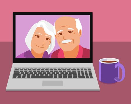 Screen view of happy senior grandparents. Smiling elderly couple enjoy video chat. Old man and woman talk online using webcam on computer.