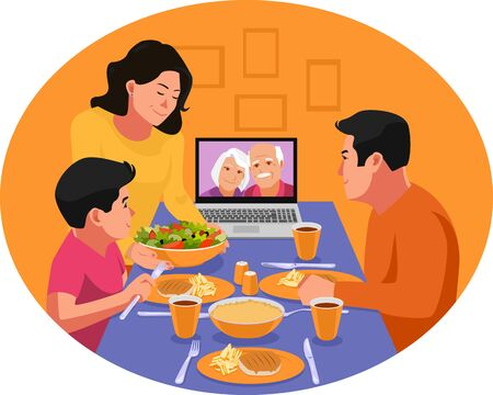 Happy family having dinner together. Video chat with family elders during dinner. Ramadan in the time of corona. Iftar eating after fasting. Stay home covid-19 concept.