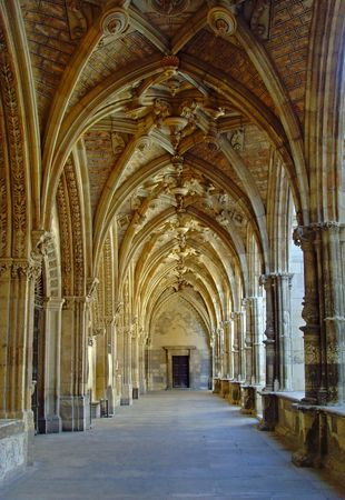 Cloisters in a cathedral in Northern Spain, Europe