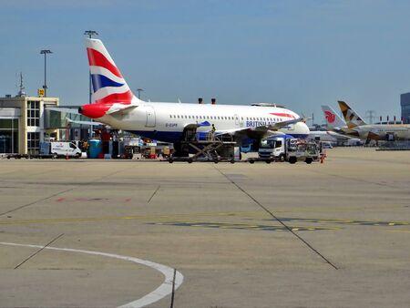 British Airways Aircraft on the runway of Geneva Airport, Switzerland. Passenger traffic in summer.