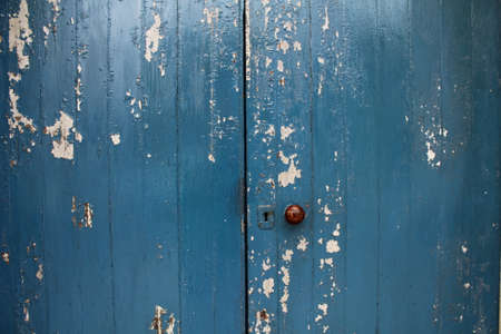 bluegrass: Distressed Blue Church Door Stock Photo