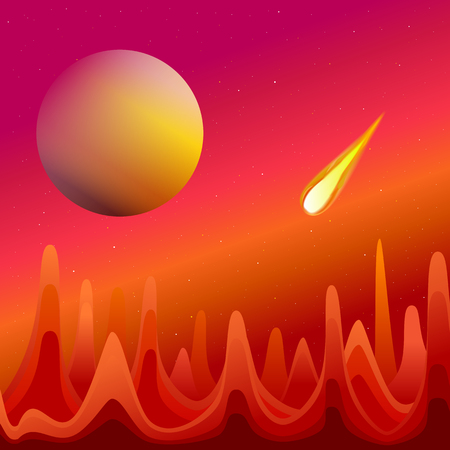 red sky: Illustration of a flying meteor against a red sky and the planet. View from another planet Illustration