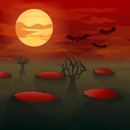 ghouls: Bats-vampires are flying on blood-red sky in the moonlight.