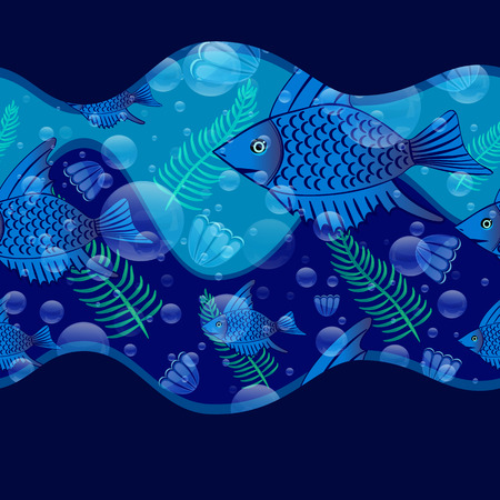 scallops: Seamless pattern with fishes, seaweeds, air bubbles and scallops.