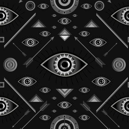 targets: Seamless pattern with eyes, geometric figures, targets and arrows. Illustration