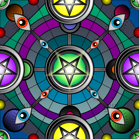 Colorful seamless abstraction with pentagrams and eyes.