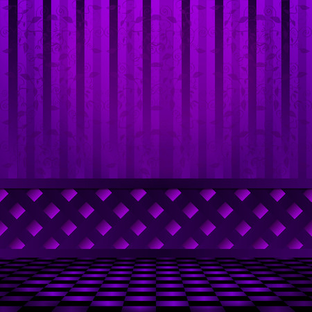 checkerboard: Violet room with purple checkerboard floors and wall panel.