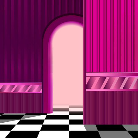 checkerboard: Pink room with checkerboard floor and a hallway with arched entrance.