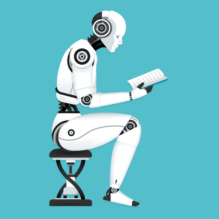 Vector Illustration, Robot machine learning data by reading a book