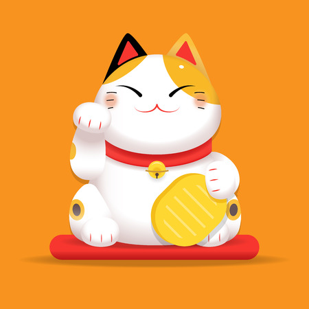 Vector gradient Illustration, White Maneki Neko raised right paw