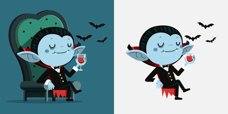 Ilustración vectorial, dibujos animados lindo pequeño Drácula sentarse en una silla y beber sangre
