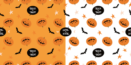 Vector Illustrator, Cartoon pumpkins halloween 2  pattern background