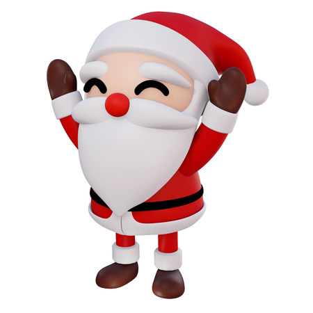 Santa Claus 3d cartoon 2 hands up and eyes smile rotate right1 on white background with clipping path, 3d render Stockfoto