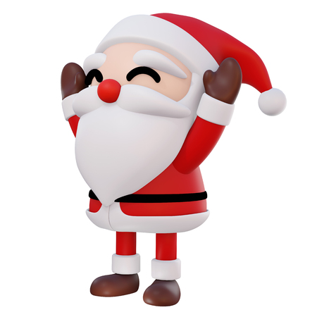 Santa Claus 3d cartoon 2 hands up and eyes smile rotate right2 on white background with clipping path, 3d render Фото со стока