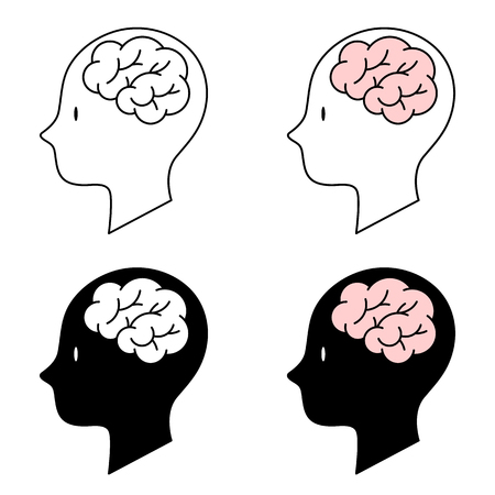 Vector Illustration, Human head brain symbol 4 icons on white background, Line icons and silhouette icons