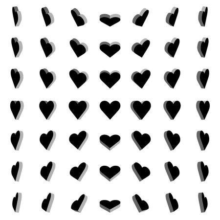 Vector Illustration, Black heart box rotation 0,30,45,60 degrees on white background Illustration