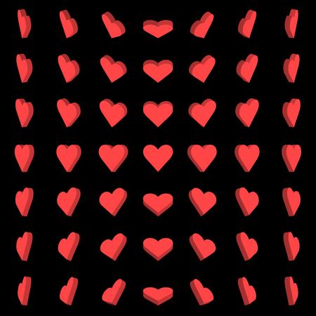 Vector Illustration, Red heart box rotation 0,30,45,60 degrees on black background