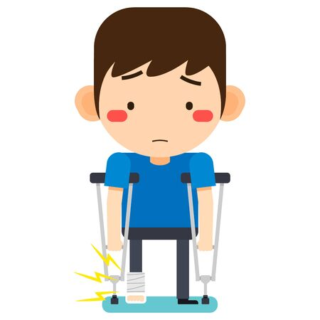 Vector illustration, Tiny cute cartoon patient man character broken right leg in gypsum bandage or plastered leg standing with axillary crutch on white background