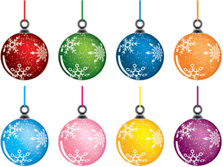 Christmas baubles, variants color, vector illustration Stock Vector - 654407