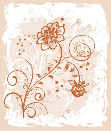Grunge paint floral frame, element for design, vector illustration Stock Vector - 760182