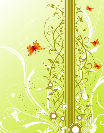 Abstract floral background with circles & butterfly, element for design, vector illustration Stock Illustration - 1080588