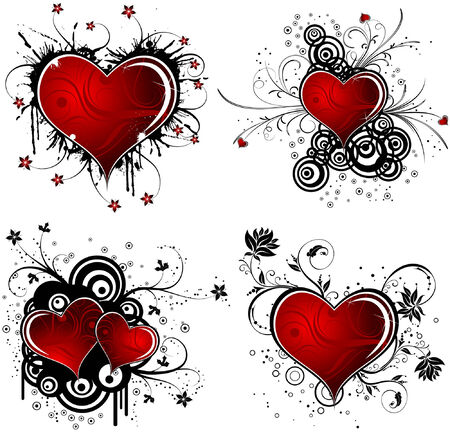Valentines Day grunge background with Hearts, flower and circle, element for design, vector illustration