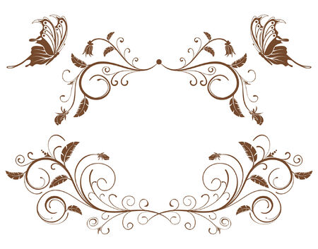 Collect flower border with butterfly, element for design, vector illustration Vektorové ilustrace