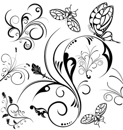 Collect flower with butterfly, element for design, vector illustration Vektorové ilustrace