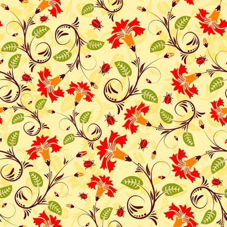 Flower seamless pattern with ladybug, element for design, vector illustration Stock Vector - 3125443