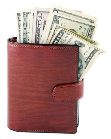 Banknotes dollars in leather brown purse isolated on white photo