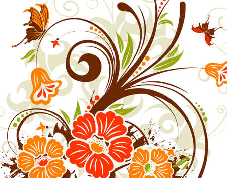 Grunge flower background with butterfly, element for design, vector illustration Stock Vector - 3387167
