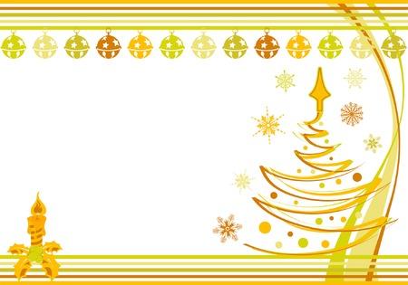 Weihnachten Rahmen mit Glocke, Kerze, Element für Design, Vektor-Illustration