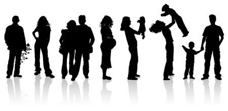 Silhouettes of woman, man, children, vector illustration Иллюстрация