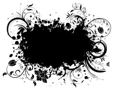 Grunge Floral Frame, element for design, vector illustration Zdjęcie Seryjne - 4450555