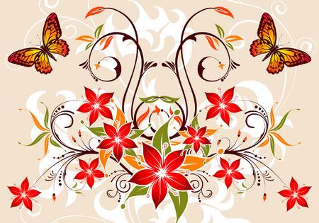 Floral background mit Schmetterling, Element für Design, Vektor-Illustration