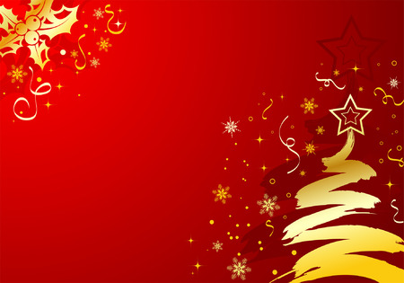 Christmas background with tree & mistletoe, element for design, vector illustration