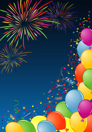 Birthday Frame with Balloon, Fireworks and streamer, element for design, vector illustration