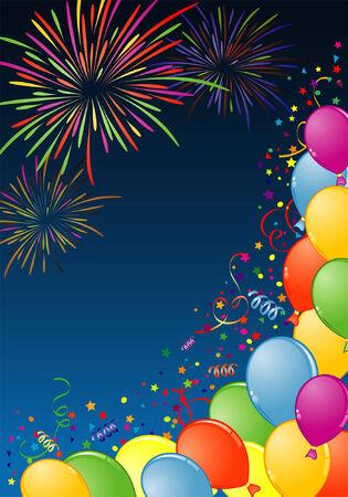 Marco de cumpleaños con globo, Fireworks y streamer, elemento de diseño, ilustración de vectores Ilustración de vector