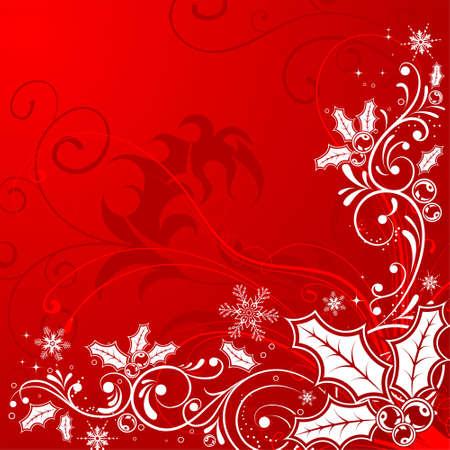 Christmas Frame mit Schneeflocken und Holly Berry, Element für Design, vector illustration