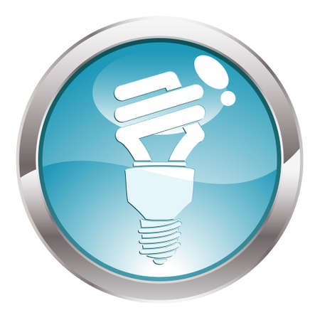 Three Dimensional circle button with energy-saving light bulb icon, vector illustration Stock Vector - 5809919