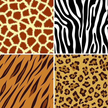 Vier naadloze tegels dier giraffe, zebra, tiger en Luipaard afdrukken