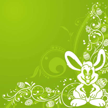 Easter background with ornament eggs, rabbit, and floral pattern, element for design, vector illustration Vector