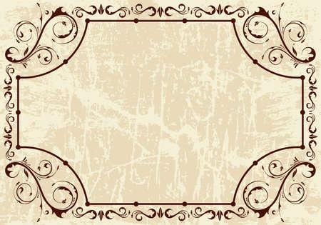 Grunge Floral Vintage frame, vector illustration Illustration