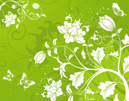 Floral Background with butterfly, element for design, vector illustration Stock Vector - 6537917