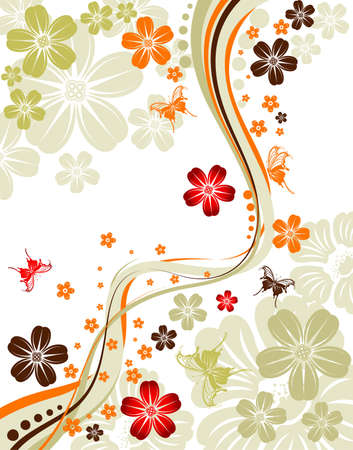 Floral background with butterfly and wave pattern, element for design, vector illustration Vector