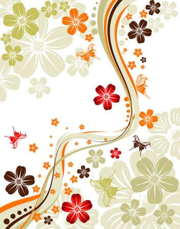 vectors abstract: Fondo floral con patr�n de mariposa y onda, en el distrito de elemento para dise�o, ilustraci�n vectorial Vectores
